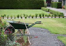 A Gardeners Wheelbarrow. Stock Photo