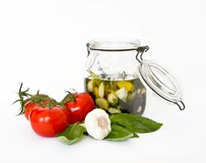 Fresh Tomatoes, Basil, Garlic, Herbal Oil Royalty Free Stock Images