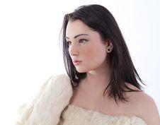 Beautiful Woman In Fur Coat Stock Photos