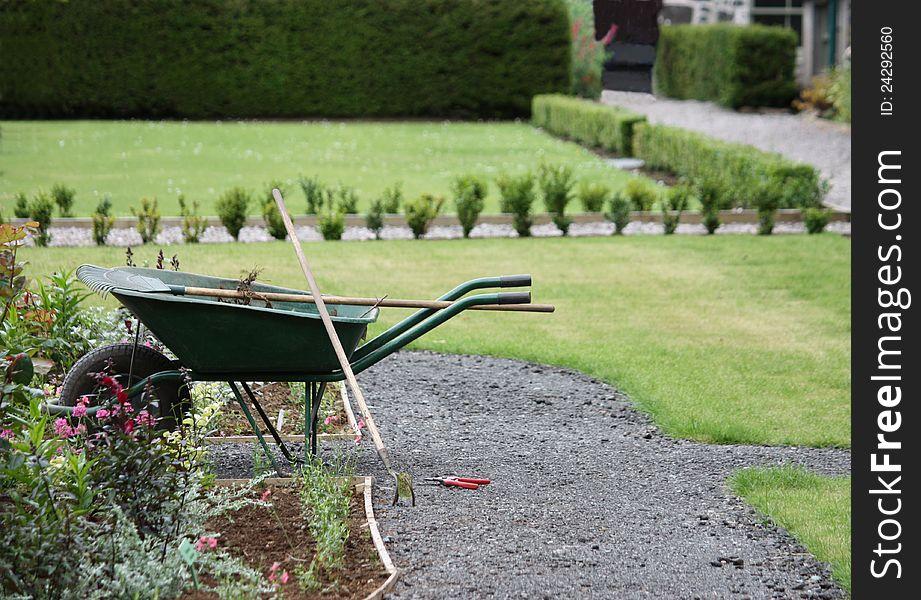A Gardeners Wheelbarrow.