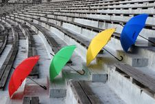 Colorful Umbrellas Seats Royalty Free Stock Images