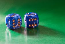 Free Two Blue Dices Royalty Free Stock Photography - 2433067