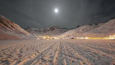Moonlight Alpine Town Royalty Free Stock Photography