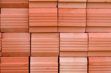 Red Stacked Bricks Stock Photography