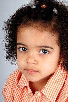 Free Girl In Orange Shirt Royalty Free Stock Images - 2436089