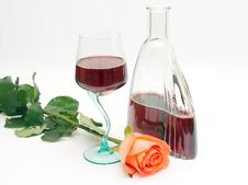 Free Red Wine And Rose Royalty Free Stock Photos - 2436778