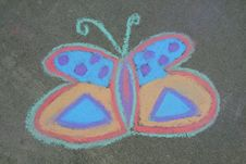 Free Multi Colored Chalk Butterfly Stock Image - 2438941