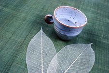 Free Pottery Cup And Leaves Royalty Free Stock Image - 2439756