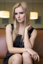 Free Blond Woman In Black Dress Stock Photography - 24306992