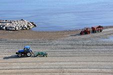 Tractor Sea Beach Royalty Free Stock Photos