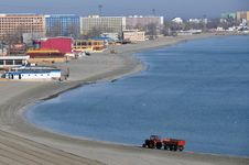 Tractor Sea Beach Stock Photos