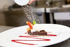 Free Closeup Of Dark Chocolate Tart On A Plate Royalty Free Stock Image - 24302566