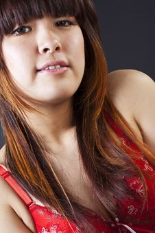 Free Close Up Of Cute Asian Woman In Red Bra Royalty Free Stock Photography - 24302717