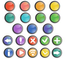 Round Colored Buttons Stock Photos