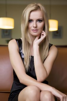 Free Blond Woman In Black Dress Stock Photos - 24306973