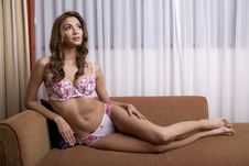 Free Beautiful Brunette In Bed Stock Images - 24307074