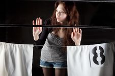 Beautiful Girl In The Train Window Is Goodbay Stock Images