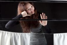 Young Girl In The Train Window Is Goodbay Royalty Free Stock Photos