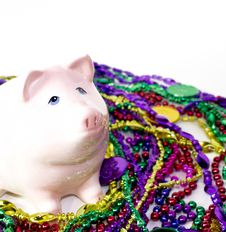 Free Mardi Gras Piggy Bank Royalty Free Stock Photo - 24309215