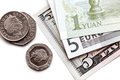 Free Detail Paper Money, And British Coins. Stock Photos - 24313003