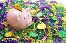 Free Piggy Bank With Mardi Gras Coins Stock Photos - 24310903