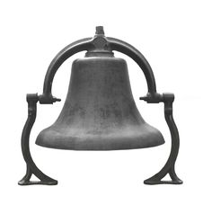 Old Black Cast Iron Bell Isolated. Royalty Free Stock Images