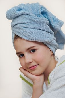 Free Beautiful Girl With Bathrobe In Hotel Royalty Free Stock Photos - 24316848