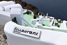 Restaurant At Santorini Island, Greece Royalty Free Stock Photography
