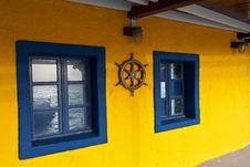 Traditional Greek Tavern At Santorini Stock Images