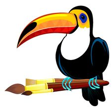 Free Toucan And Paintbrushes Royalty Free Stock Photography - 24319087