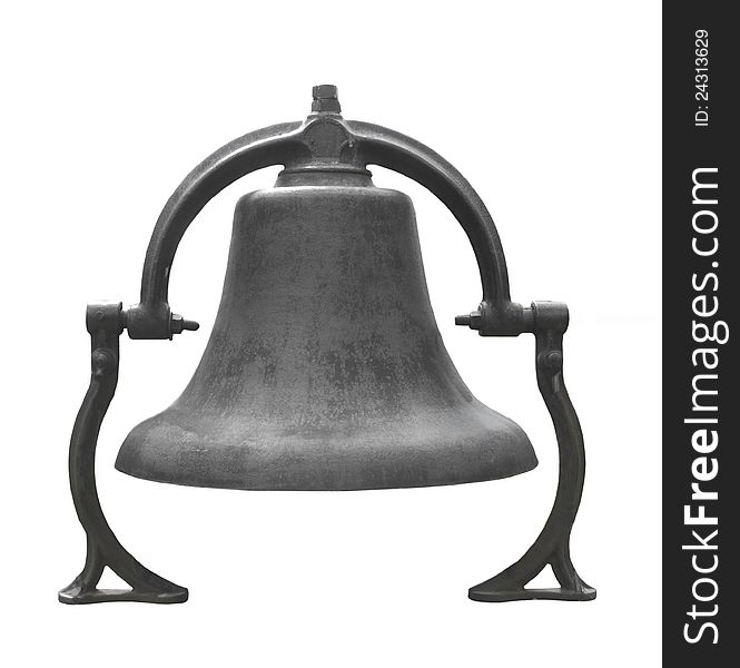 Old Black Cast Iron Bell Isolated Free Stock Images