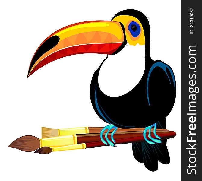 Toucan and paintbrushes