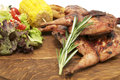 Free Grilled Quail And Vegetables Royalty Free Stock Photos - 24328688
