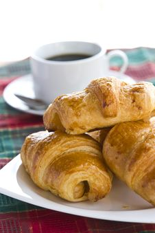 Free Breakfast With Black Coffee And Croissants Royalty Free Stock Images - 24320109