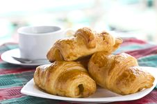 Free Breakfast With Black Coffee And Croissants Royalty Free Stock Photos - 24320138