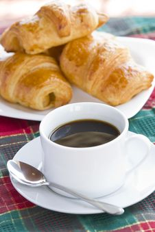Free Breakfast With Black Coffee And Croissants Stock Image - 24320151