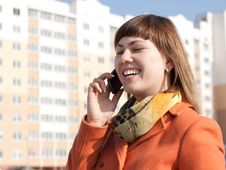 Free Woman Make A Call On Modern Background Stock Image - 24321511