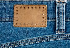 Free Blank Leather Jeans Label Decorated By Rivets Stock Photography - 24326562