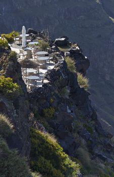 Bar By The Cliff Of The Caldera At Santorini Royalty Free Stock Image