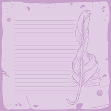 Free Lined Sheet Of Paper With Feather Royalty Free Stock Photos - 24338728