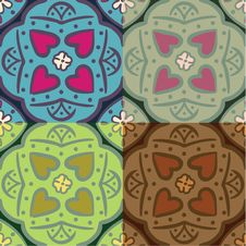 Free Seamless Ornate Backgrounds With Hearts Royalty Free Stock Photo - 24343135