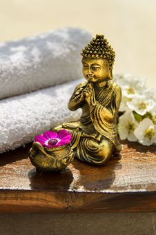 Free Spa Concept With Golden Buddha Royalty Free Stock Photos - 24346808