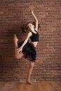 Free Girl Dancing Near Brick Wall Royalty Free Stock Image - 24350536