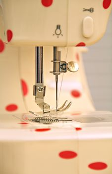 Retro Polka Dot Sewing Machine Stock Images