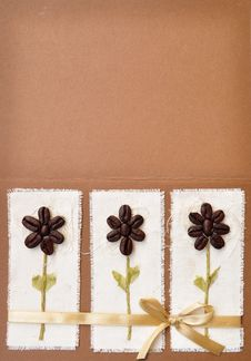 Handmade Paper Card With Coffee Beans