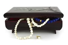 Jewelry Box With Pearl Necklaces Falling Stock Image