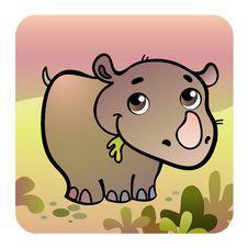 Free Friendly Rhino In Savanna Stock Images - 24356884