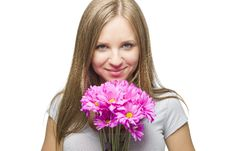 Free Sexy Blond Woman With Flowers Royalty Free Stock Photography - 24359177