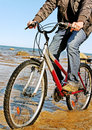 Free Man And Bike. Royalty Free Stock Photography - 24367557