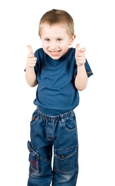 Happy Boy Shows The Sign OK Stock Photo